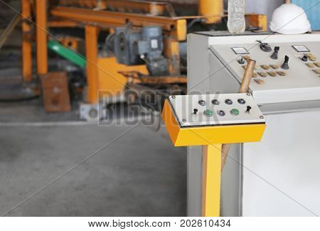 Control panel in factory workshop