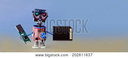 Robotic cyber safety data storage concept. System administrator cyborg toy with usb flash stick and memory card on blue gray gradient background. Copy space macro view photo