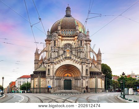 Saint Mary's Royal Church in Brussels at sunset
