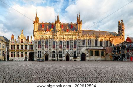 Burg square in a Bruges nobody, Belgium