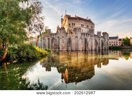 Castle Gravensteen in Gent at sunrise, Belgium