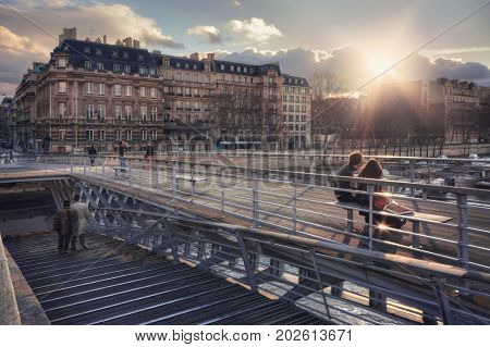 France, Paris - March 2008: Passerelle Leopold-Sedar-Senghor and quai Anatole France at sunset. France. Paris.