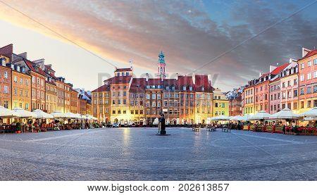 Panorama of Warsaw odl town square Rynek Starego Miasta Poland