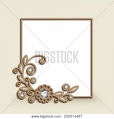 Vintage photo frame with gold corner decoration, floral jewelry vignette with diamonds, wedding announcement or invitation card design