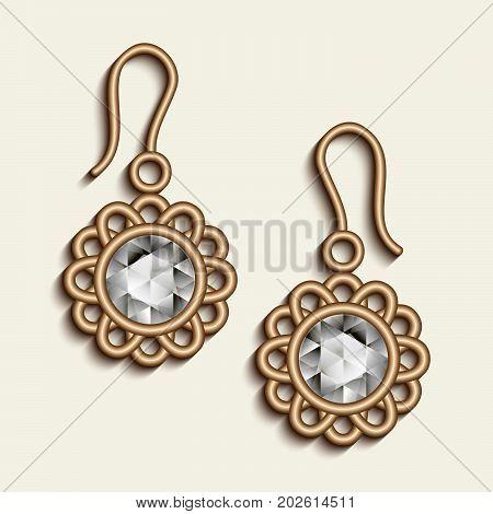 Vintage gold jewelry earrings with diamond gemstones, jewellery pendants, filigree women's decoration, elegant embellishment on white