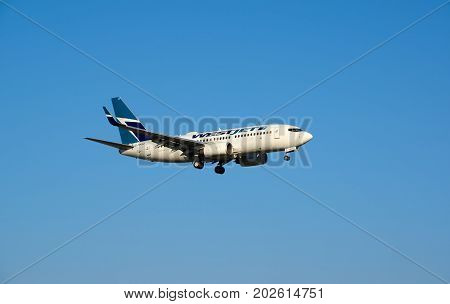 MONTREAL CANADA - AUGUST 28 2017 : WestJet C-FWSO Boeing 737 landing. WestJet Airlines Ltd. is a Canadian airline founded in 1996.