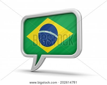 3d illustration. Speech bubble with Brazilian flag. Image with clipping path