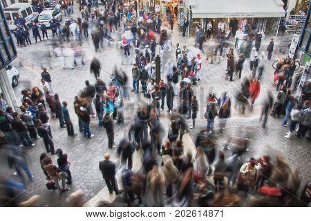 France, Paris - March 2008: People on the crossroads rue Pierre Lescot and rue de la Cossonnerie. Paris. France