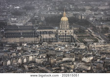 L'hotel national des Invalides during a spring snowstorm. Paris. France