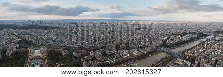 Panorama of Paris from Eiffel tower. View on the Palais de Chaillot, Trocadero Gardens, La Defense, Musee d'Art Moderne, Grand Palais, Pont de l'Alma and Seine River. France