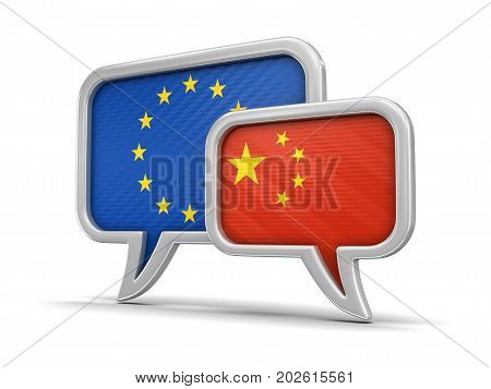 3d illustration. Speech bubbles with flags of Europian Union and  China. Image with clipping path