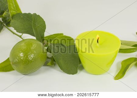 Aromatic candle for home with lemon odor
