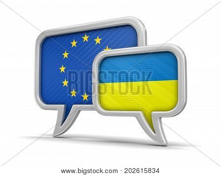 3d illustration. Speech bubbles with flags of Europian Union and Ukraine. Image with clipping path