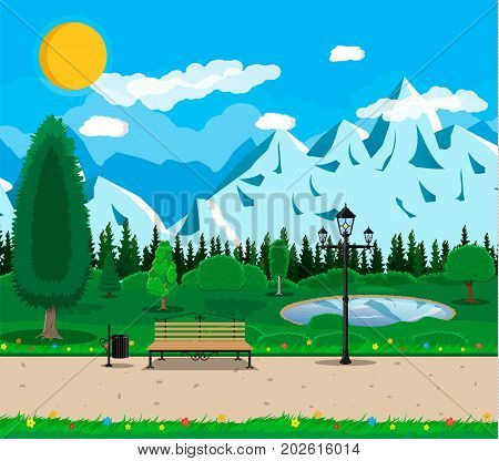 Mountain park concept, wooden bench, street lamp, waste bin in square. Rocky mountains, lake and trees. Sky with clouds and sun. Leisure time in summer park. Vector illustration in flat style