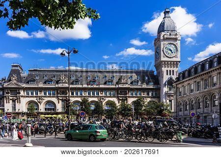 Paris France - July 03 2017: Paris-Gare de Lyon (Gare de Lyon) is one of the six large mainline railway station termini in Paris.