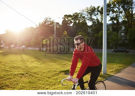 Casually dressed young hipster with thick beard enjoying morning bike ride outdoors in urban park with sun shining through trees in background. Serious Caucasian man riding bicycle at weekend