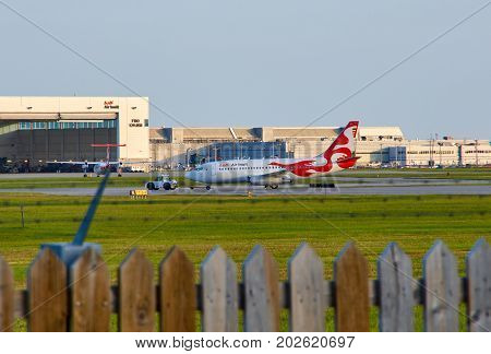 MONTREAL CANADA - AUGUST 28 2017 : Air Inuit C-GMAI taxiing plane. Air Inuit is an airline based in the Montreal borough of Saint-Laurent Quebec Canada.