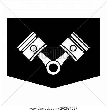 Pistons and rods icon. Conrods sign. Vehicle engine parts symbol. Vector illustration.