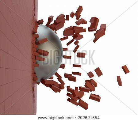 Brick Wall Broken by Wrecking Ball. 3D Illustration