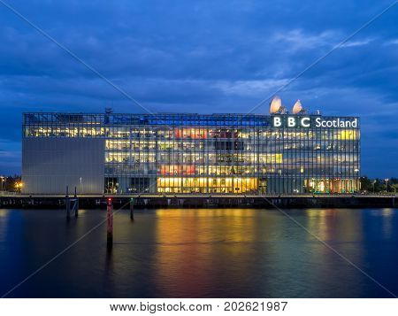 GLASGOW, SCOTLAND - JULY 21: The River Clyde with BBC Scotland building on July 21, 2017 in Glasgow. BBC Scotland produces many movies, shows and local broadcasts to the country of Scotland.