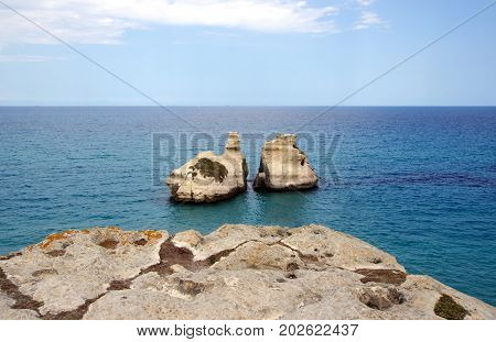 Two Sisters Rocks at Torre dell Orso; Italy