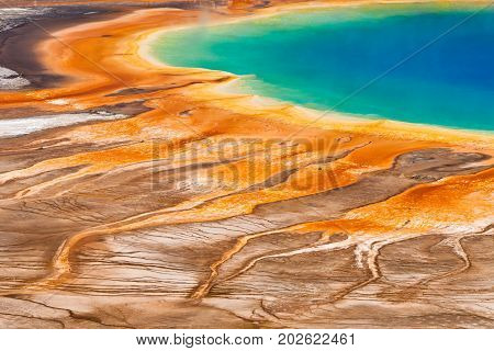 Detailed, abstract view of the Grand Prismatic Spring from above. Yellowstone National Park, USA