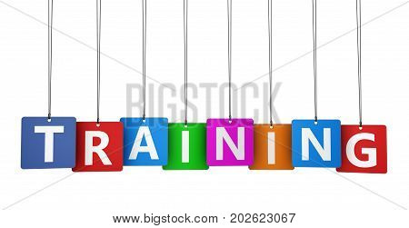 Training sign and word on colorful paper tags 3D illustration.