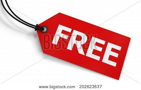 Free word and sign on a red price tag label on white background 3D illustration.