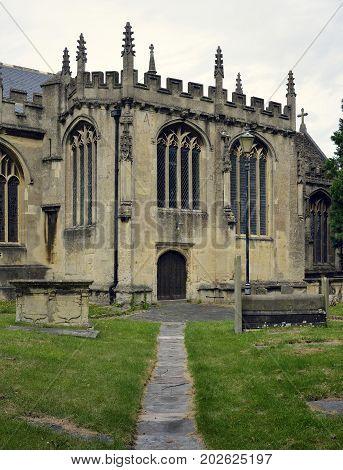 Path & entrance St. Andrews Church Chippenham Wiltshire