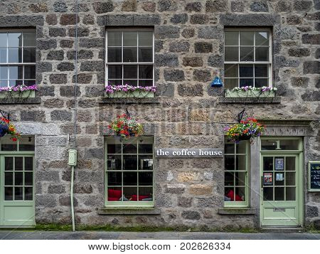 ABERDEEN, SCOTLAND: JULY 23: Exterior facade of the Coffee House in the evening on  July 23, 2017 in Aberdeen, Scotland. The Coffee House is a popular  independent coffee house in Aberdeen.