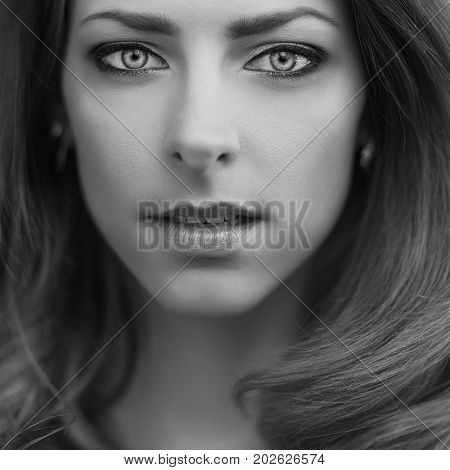 emotion black and white beautiful girl portrait