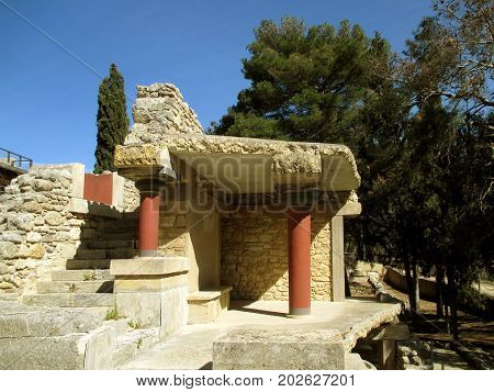 The Historic Remains of the Ancient Building at the Archaeological Site of Knossos, Heraklion, Crete Island of Greece