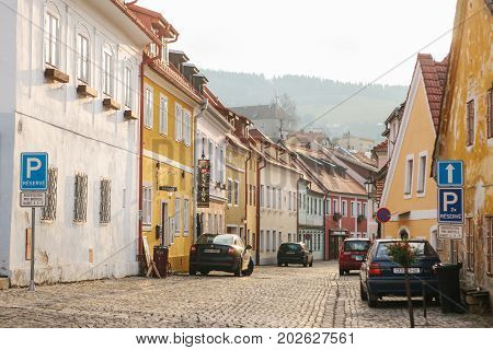 Czech Republic, Cesky Krumlov, December 16, 2016: Beautiful street in the city. One of the most beautiful unusual small cities in the world. Travel Destination