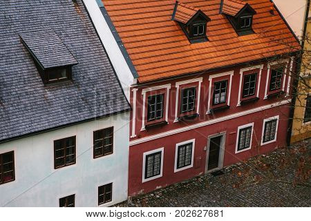 Beautiful street in the town of Cesky Krumlov in the Czech Republic. One of the most beautiful unusual small cities in the world. Travel Destination