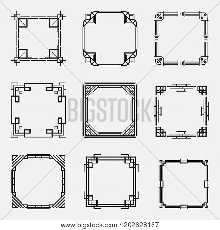 Collection Of Art Deco Borders And Frames In Style Of 1920S. Templates For Your Design. Vector Illus