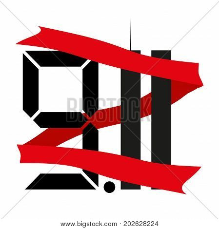 The twin towers . the eleventh of September . the day of memory and grief . 9.11 . Vector illustration