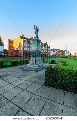 Northampton, UK - Aug 10, 2017: Clear Sky morning view of Mobbs Memorial Monument on Abinton Street Northampton Town Centre.