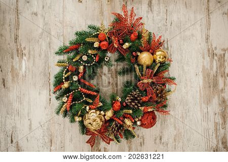 Close up christmas border from christmas wreath useful as christmas decoration.