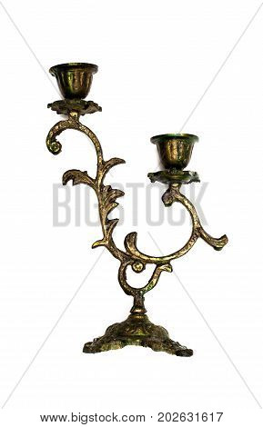 Candle holder chandelier isolated on white background.