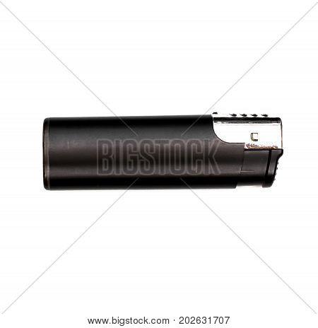 Gas lighter isolated on white background. Black lighter.