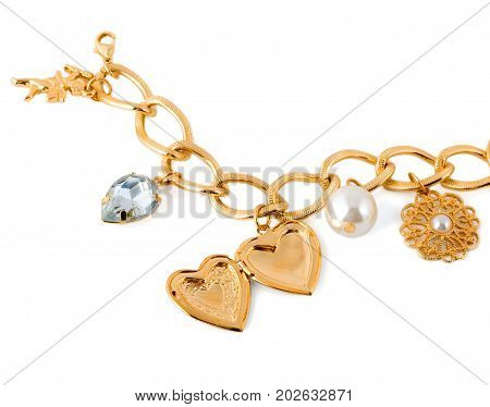 gold heart in necklace bracelet isolated on white background