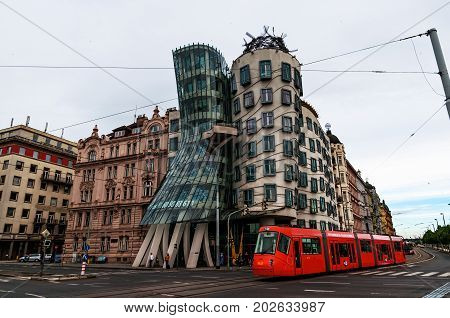 PRAGUE, CZECH REPUBLIC - July 16, 2017: Modern building, also known as the Dancing House, designed by Vlado Milunic and Frank O.
