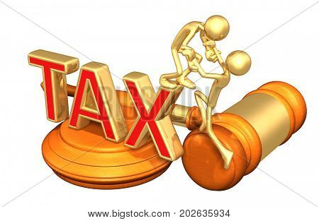 Tax Law Help Concept With The Original 3D Character Illustration