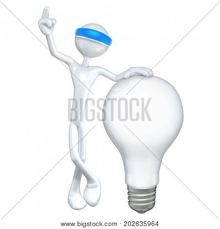 The Original 3D Character Illustration Wearing An Augmented Reality Visor With A Light Bulb