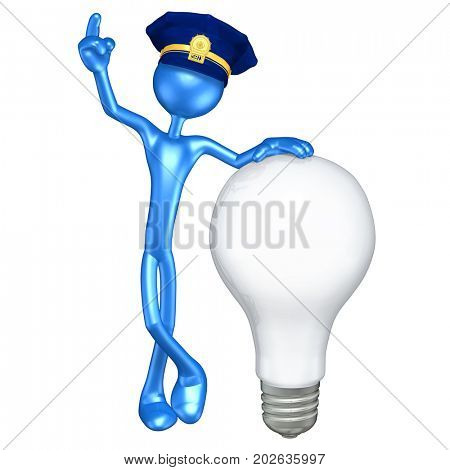 The Original 3D Character Police Officer Illustration With A Light Bulb