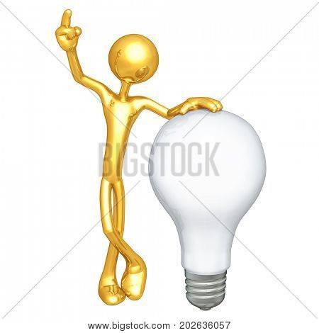 The Original 3D Character Illustration With A Light Bulb