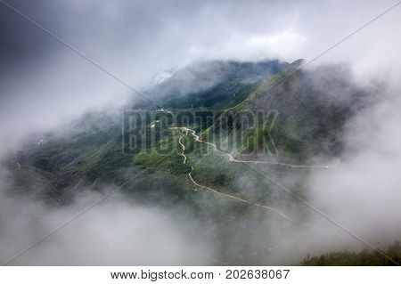 tram Ton Pass covered by fog, Sapa District, Lao Cai Province, Northwest Vietnam