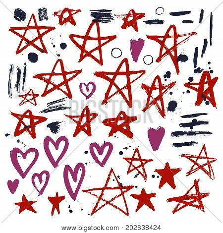 Set of hand drawn stars and hearts. Grunge elements. Brush strokes of pencil or pastel. Doodle with crayons.Vector illustration.