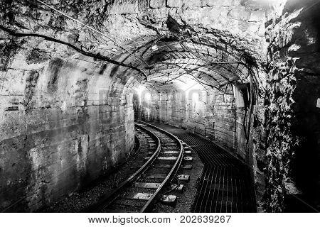 Industrial mining unused mining tunnel interior view