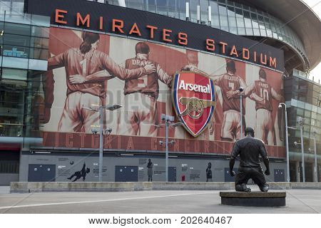 London United Kingdom - 3 September 2017: View of the statue of Thierry Henry in front of the Arsenal Emirates Football Stadium.